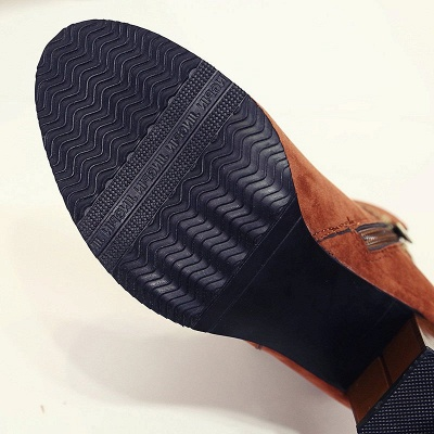 Chunky Heel Daily Tassel Zipper Elegant Boots_13