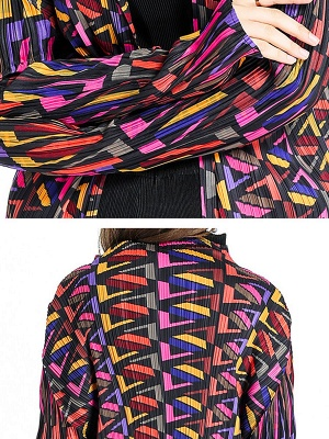 Multicolor Abstract Long Sleeve Shift Crinkled Coat_5