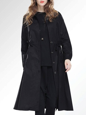 Solid Casual Long Sleeve Coat_2