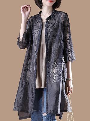 Gray Crew Neck Half Sleeve Guipure lace Paneled Coat_5
