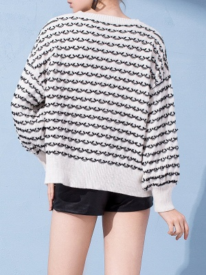 Crew Neck Long Sleeve Shift Casual Sweater_4