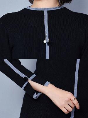 Crew Neck Long Sleeve Casual Paneled Sweater_10