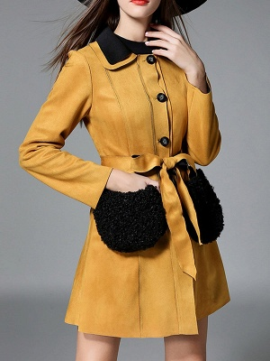 Yellow Casual Solid Shift Long Sleeve Coat_5