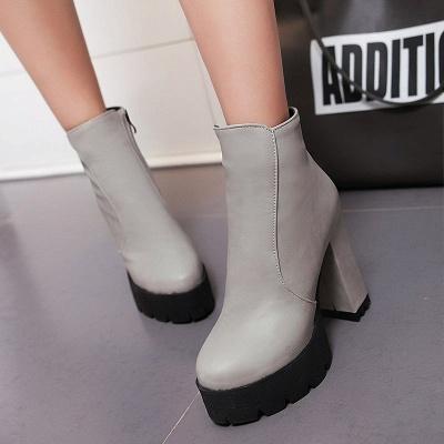 Chunky Heel Daily Zipper Round Toe Boots_9