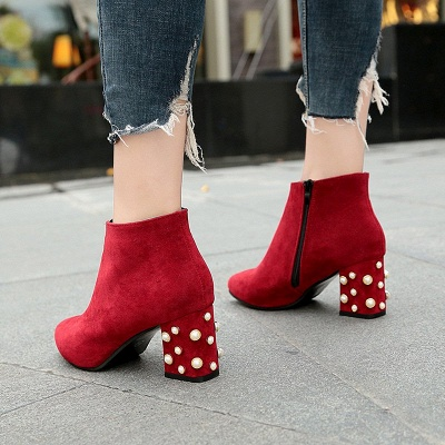 Suede Winter Chunky Heel Beading Pointed Toe Boot_1