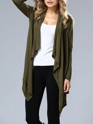 Casual Long Sleeve Solid Asymmetrical Summer Coat_3