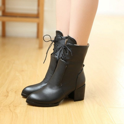 Chunky Heel Lace-up Working Pointed Toe Suede Boots_3