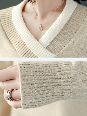 Long Sleeve Solid Casual Piping Sweater_10