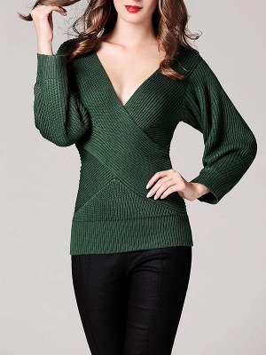 Green Sheath Long Sleeve Plunging neck Sweater_6