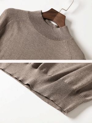 Khaki Solid Turtleneck Casual Sleeveless Shift Sweater_5