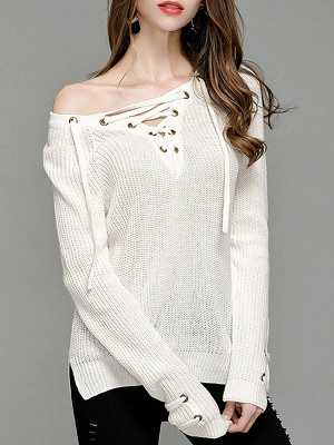 Sheath Long Sleeve Solid Lace up Casual Sweater_1