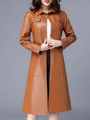Buttoned Shirt Collar Shift Long Sleeve Casual Pockets Coat_2