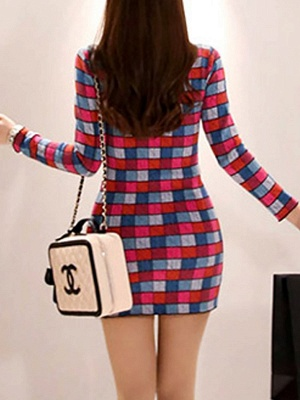 Multicolor Casual Checkered/Plaid Crew Neck Long Sleeve Sweater_3