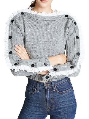 Gray Long Sleeve Wool Casual Sweater_4