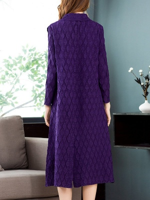 Purple Casual Embossed Long Sleeve Solid Shawl Collar Shift Slit Coat_3