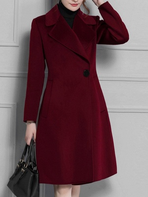 Casual Long Sleeve Lapel Solid Pockets Buttoned Coat_2