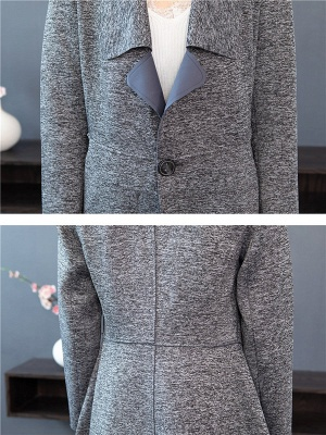 Gray Long Sleeve Casual Shawl Collar Cotton Solid Buttoned Coat_5