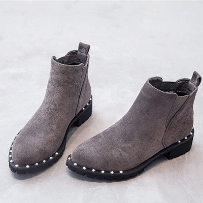 Gray Daily Rivet Pointed Toe Chunky Heel Boots_3