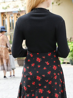 Black Casual Long Sleeve Crew Neck Sweater_3