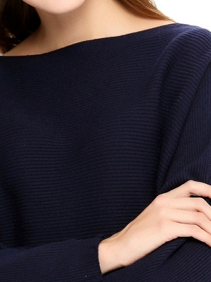 Slash Neck Batwing Simple Solid Sweater_3