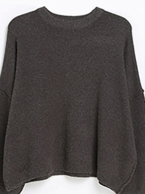 Casual Paneled Long Sleeve Solid Crew Neck Sweater_3