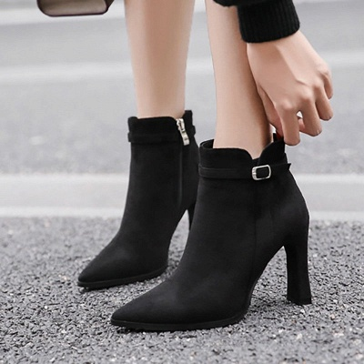 Daily Buckle Pointed Toe Elegant Boots_3