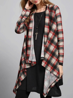 Checkered/Plaid High Low Casual Long Sleeve Coat_1