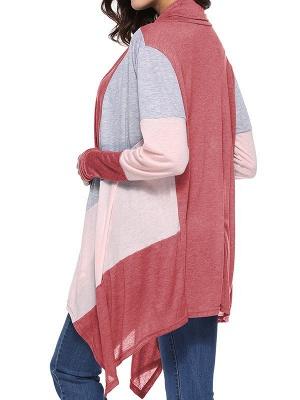 Cotton Casual Asymmetric Long Sleeve Color-block Coat_9