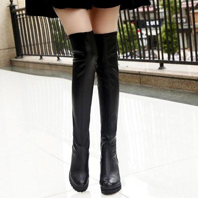 Black Fall Chunky Heel Zipper PU Boots_3