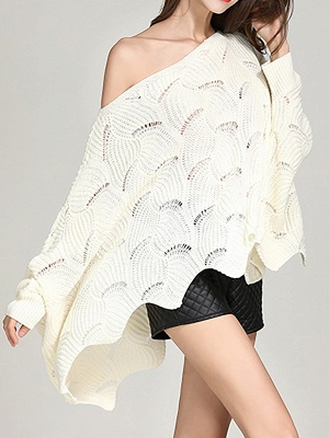 Casual Bateau/boat neck Batwing Sweater_8