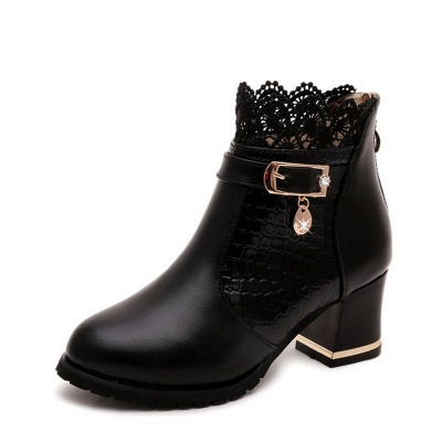 Chunky Heel Zipper Pointed Toe Buckle Boots_8
