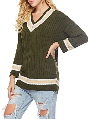 Casual Ribbed Solid Long Sleeve Sweater_5