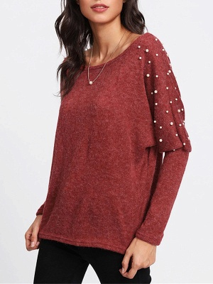 Red Long Sleeve Solid Casual Sweater_6