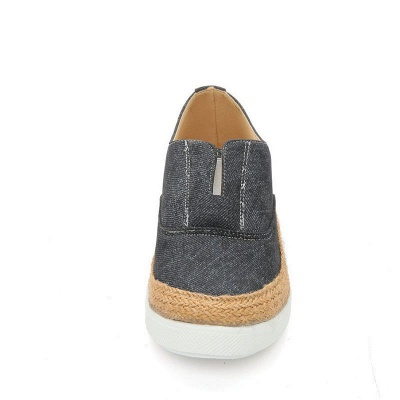 Summer Casual Round Toe Denim Wedge Loafers_13