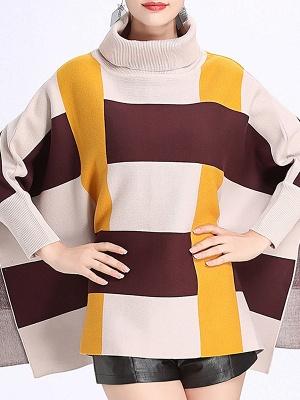 Elegant Shift Batwing Color-block Sweater_3