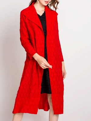 Long Sleeve Slit Casual Solid Shawl Collar Embossed Shift Coat_8