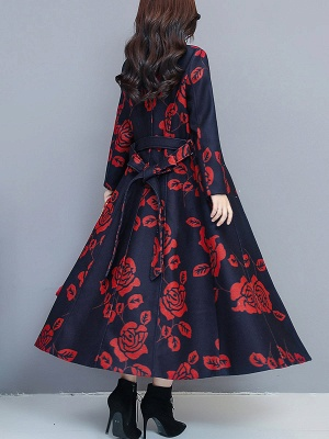 Printed Stand Collar Buttoned Pockets A-line Coat_4