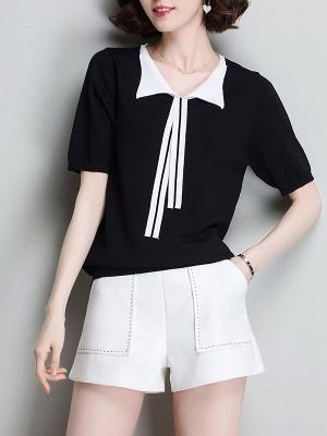 Sweater Shirt Collar Ice Yarn Knit Shift Daytime Knitwear_3
