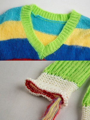 Multicolor V neck Cotton Long Sleeve Sweater_6