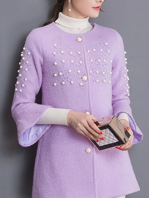 Bell Sleeve Work Shift Buttoned Beaded Coat_3