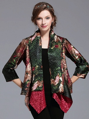 Green Printed Asymmetrical Vintage Reversible Crinkled Coat_4