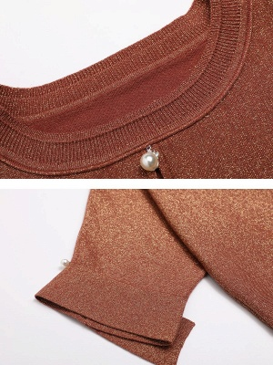 Brown Crew Neck Shift Casual Knit Top_5