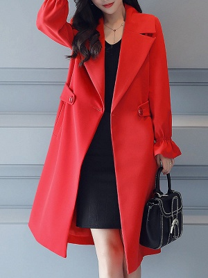 Bell Sleeve Casual Solid A-line Lapel Pockets Buttoned Paneled Coat_12