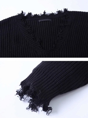 Long Sleeve Casual Plunging neck Sweater_7