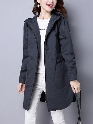 Zipper Hoodie Pockets Shift Long Sleeve Coat_2