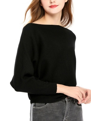 Slash Neck Batwing Simple Solid Sweater_15