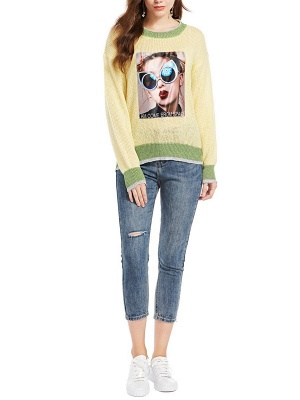 Yellow Long Sleeve Graphic Sweater_4
