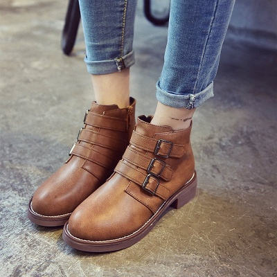 Zipper Daily Chunky Heel Round Toe Buckle Boots_1