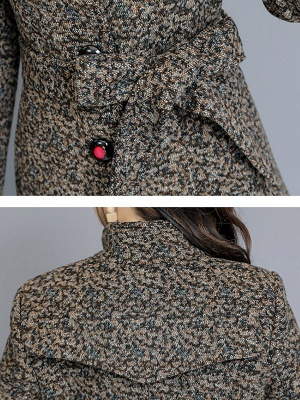 Gray Stand Collar Shift Long Sleeve Pockets Buttoned Coat_6