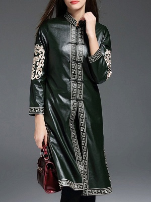 Green Buttoned PU Stand Collar Embroidered Coat_6